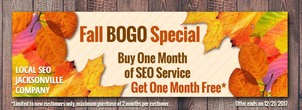 Local SEO Jacksonville announces Fall BOGO 2017 Special